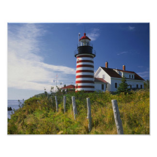 USA, Maine, Lubec. West Quoddy Head Lighthouse Poster