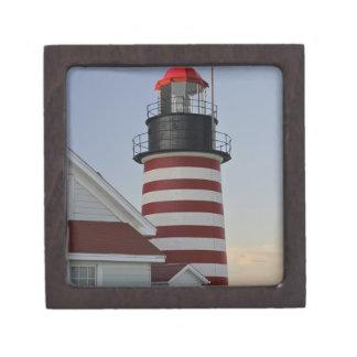 USA, Maine, Lubec. West Quoddy Head Lighthouse, Premium Keepsake Box