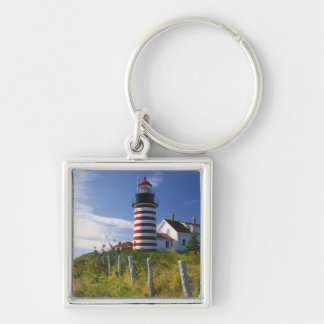 USA, Maine, Lubec. West Quoddy Head Lighthouse Silver-Colored Square Keychain