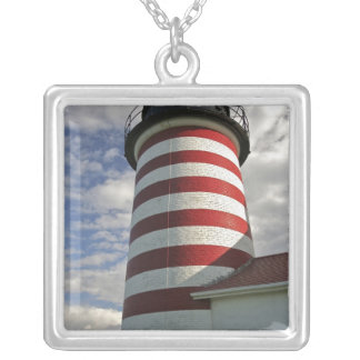 USA, Maine, Lubec. West Quoddy Head LIghthouse Square Pendant Necklace