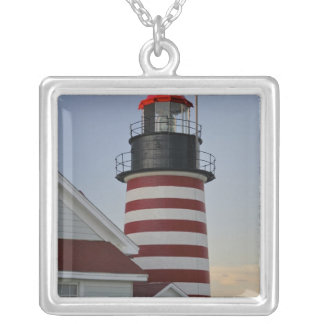 USA, Maine, Lubec. West Quoddy Head Lighthouse, Square Pendant Necklace