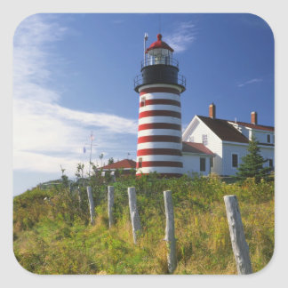 USA, Maine, Lubec. West Quoddy Head Lighthouse Square Sticker
