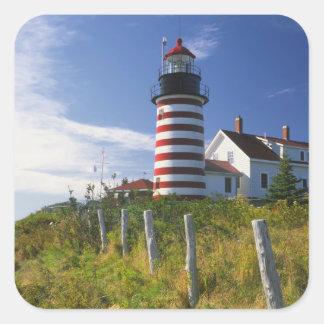 USA, Maine, Lubec. West Quoddy Head Lighthouse Square Sticker