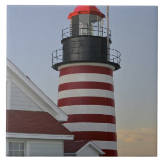 USA, Maine, Lubec. West Quoddy Head Lighthouse, Tile