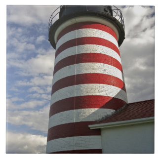 USA, Maine, Lubec. West Quoddy Head LIghthouse Tile
