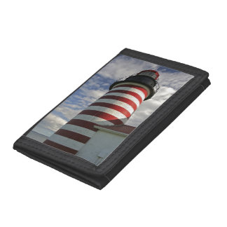 USA, Maine, Lubec. West Quoddy Head LIghthouse Tri-fold Wallet