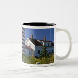 USA, Maine, Lubec. West Quoddy Head Lighthouse Two-Tone Coffee Mug