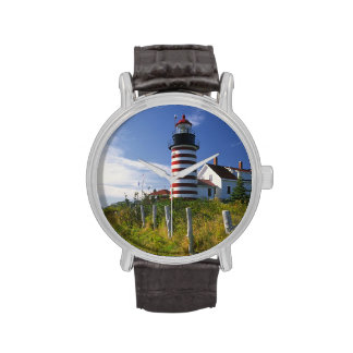 USA, Maine, Lubec. West Quoddy Head Lighthouse Watches