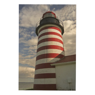 USA, Maine, Lubec. West Quoddy Head LIghthouse Wood Wall Art