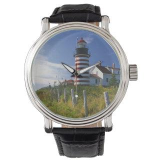 USA, Maine, Lubec. West Quoddy Head Lighthouse Wrist Watch