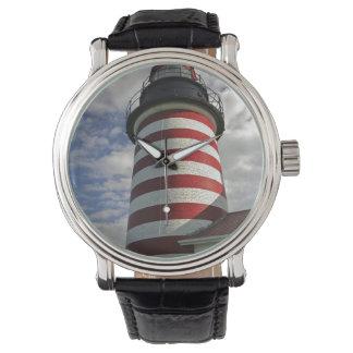 USA, Maine, Lubec. West Quoddy Head LIghthouse Wrist Watches