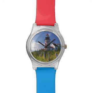 USA, Maine, Lubec. West Quoddy Head Lighthouse Wristwatch