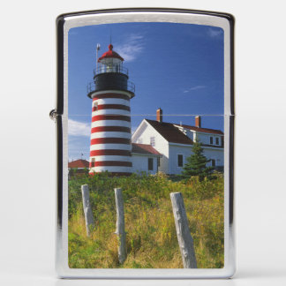 USA, Maine, Lubec. West Quoddy Head Lighthouse Zippo Lighter