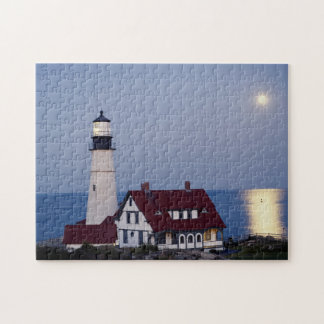 USA, Maine, Portland, Cape Elizabeth, Lighthouse Jigsaw Puzzles