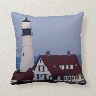 USA, Maine, Portland, Cape Elizabeth, Lighthouse Throw Pillow