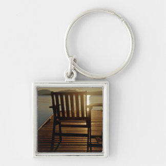 USA, Maine, Rockwood. A chair with a view of Keychain