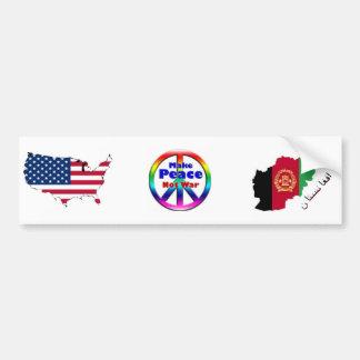 """USA """"Make Peace Not War"""" Afghanistan Bumper Sticker"""