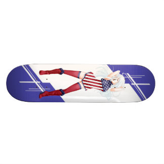 USA Manga girl dressed in Flag - America Skateboard