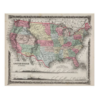 "USA Map 1859 (37""X30"")USA Map 1859 37X30 Poster"