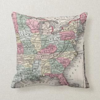 USA Map 1859 Throw Pillow