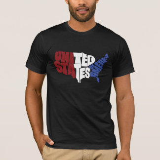 USA Map Art - Red, White, and Blue T-Shirt