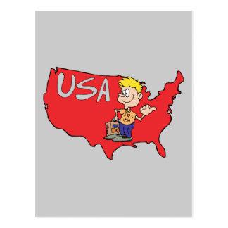 USA Map Cartoon Art Postcards