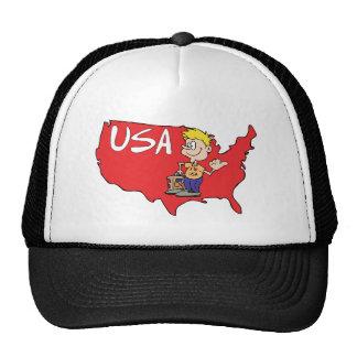 USA Map Cartoon Art Trucker Hat