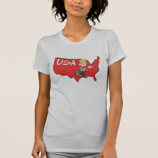 USA Map Cartoon I love America T-Shirt