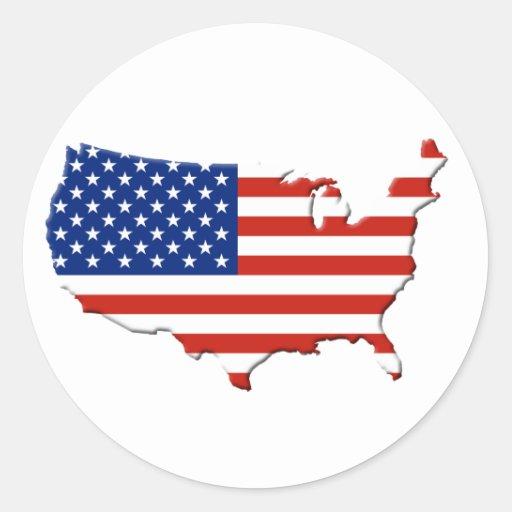USA map Classic Round Sticker