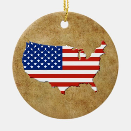 USA map Double-Sided Ceramic Round Christmas Ornament