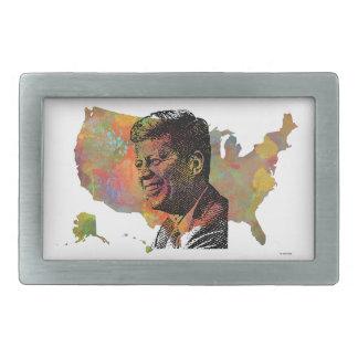 USA MAP featuring JFK Belt Buckle