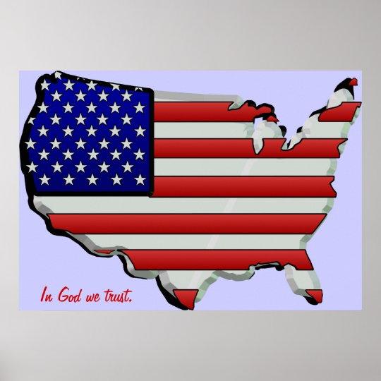USA Map Flag 3D Stars & Stripes Poster | Zazzle.com