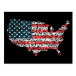 USA map flag splatter of paint United States Post Card