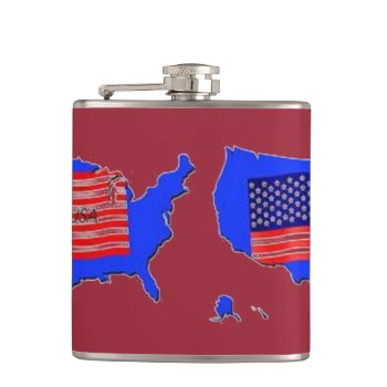 Usa   Map Flags Drinking Flask by creativeconceptss at Zazzle