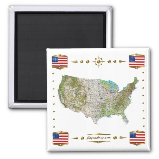 USA Map + Flags Magnet