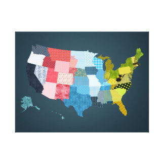 USA Map in a Patchwork Faux Quilt Design Canvas Print