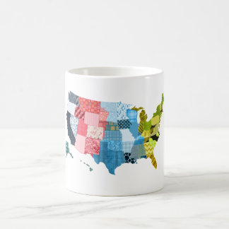 USA Map in a Patchwork Faux Quilt Design Coffee Mug