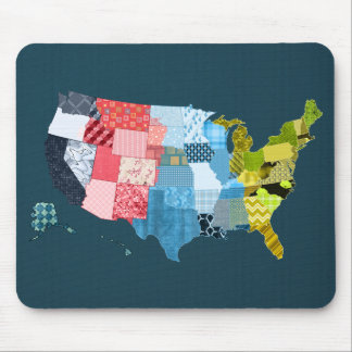 USA Map in a Patchwork Faux Quilt Design Mouse Pad