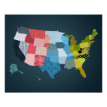 USA Map in a Patchwork Faux Quilt Design Posters