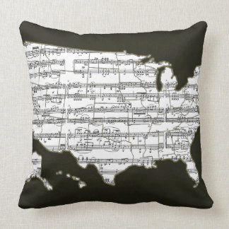 USA map & musical notes Throw Pillow