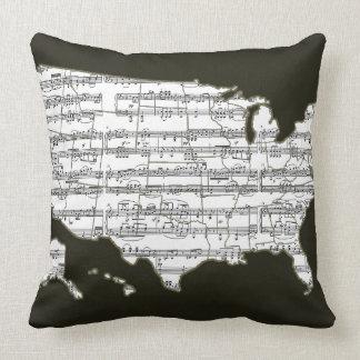 USA map & musical notes Throw Pillow