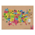 USA map of the United States of America poster