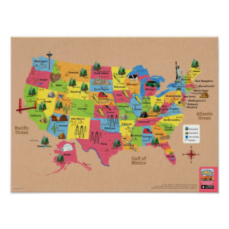 United States Map Posters Zazzle - Poster map of usa