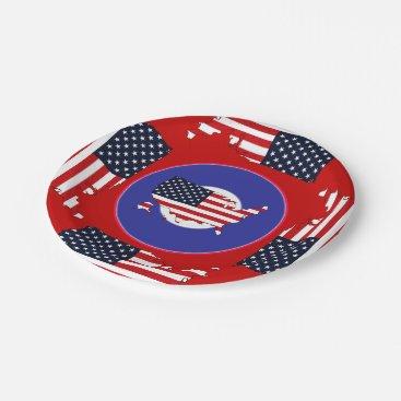 USA Themed USA Map Paper Plate
