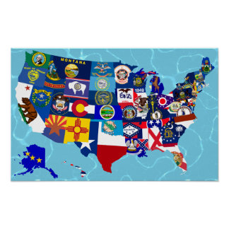 USA Map State Flags Mosaic Poster