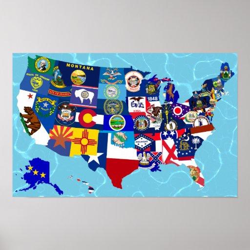 USA Map State Flags Mosaic Print