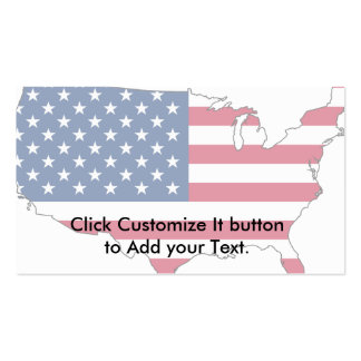 Usa Map, United States flag Business Card Templates