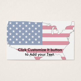 Usa Map, United States flag Business Card
