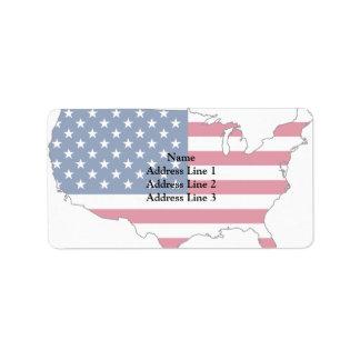 Usa Map, United States flag Custom Address Label