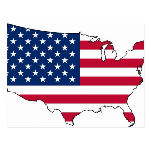 Usa Map, United States flag Postcard